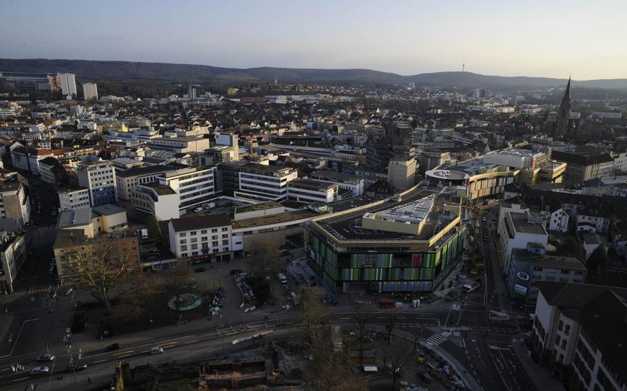 A bird's eye view of downtown Kaiserslautern, Germany, includes the city's new mall, a building with a green facade squeezed into the former Karstadt location. The indoor shopping gallery opens Wednesday, March 25, 2015.