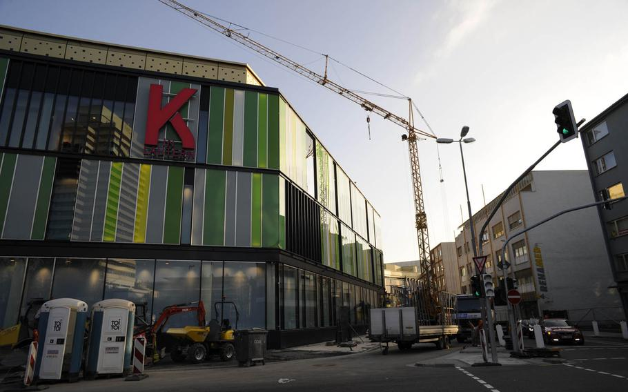 Cranes were still visible Sunday, March 22, 2015, at the new mall built in downtown Kaiserslautern, Germany. The mall, called K in Lautern, opens its doors at 8 a.m. on Wednesday, March 25, 2015. The mall will have some 100 stores, including about a dozen eateries.