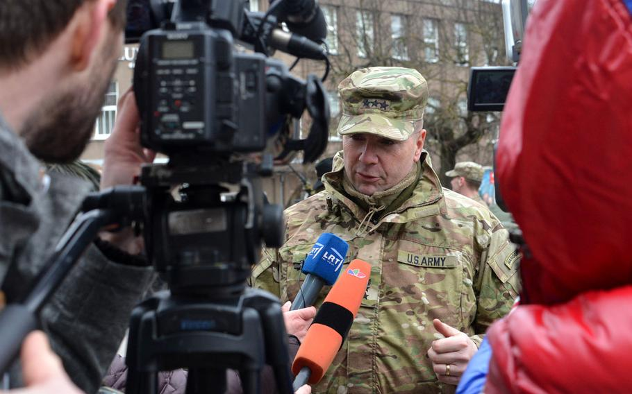 Lt. Gen. Ben Hodges, U.S. Army Europe commander, is interviewed by Lithuanian media in Panevezys, Lithuania, on Monday, March 23, 2015. Hodges rode into town on a Stryker that was part of 3rd Squadron, 2nd Cavalry Regiment's  Dragoon Ride from Lithuania and Estonia to their home base in Vilseck, Germany.