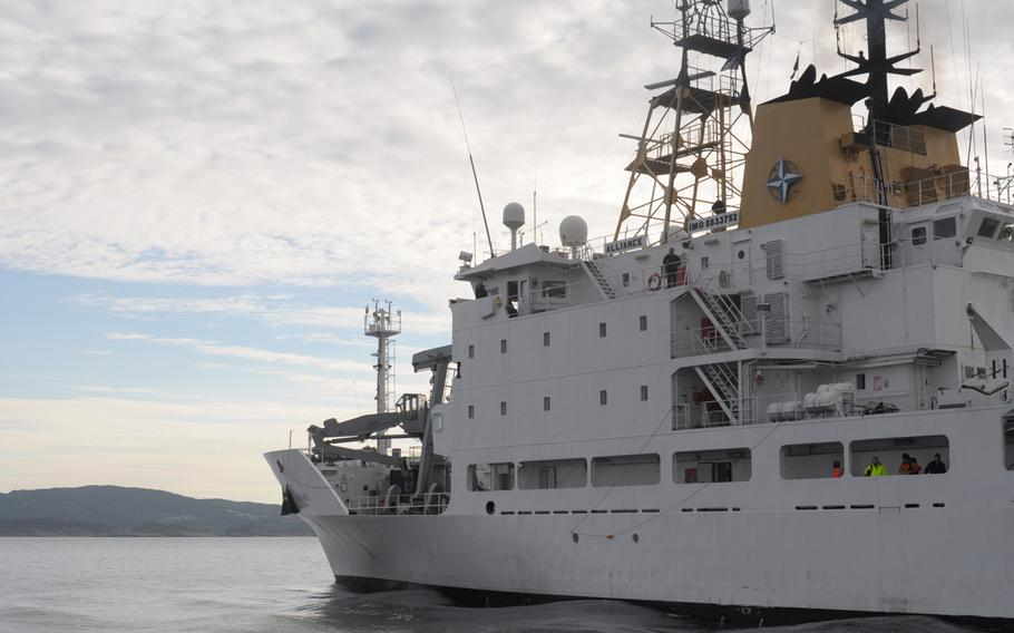 The NATO research ship NRV Alliance operates off the coast of Norway on May 5, 2015, as part of the anti-submarine warfare exercise Dynamic Mongoose. Based out of La Spezia, Italy, the Alliance is testing autonomous underwater vehicles capable of searching for submarines and other submerged objects.