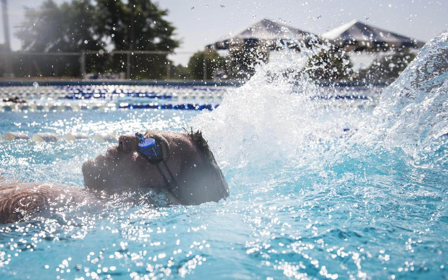 Retired Staff Sgt. Nicholas Dadgostar, an Air Force wounded warrior athlete, practices his backstroke during the Warrior Games Training Camp at Eglin Air Force Base, Fla., on June 18, 2015.