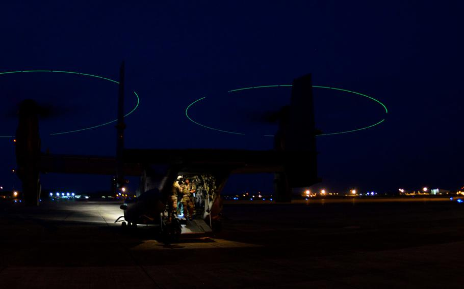 A CV-22B Osprey assigned to the 7th Special Operations Squadron lands after participating in an exercise on June 25, 2015, at RAF Mildenhall, England. The exercise provided airmen from the 321st Special Tactics Squadron to train and remain certified.