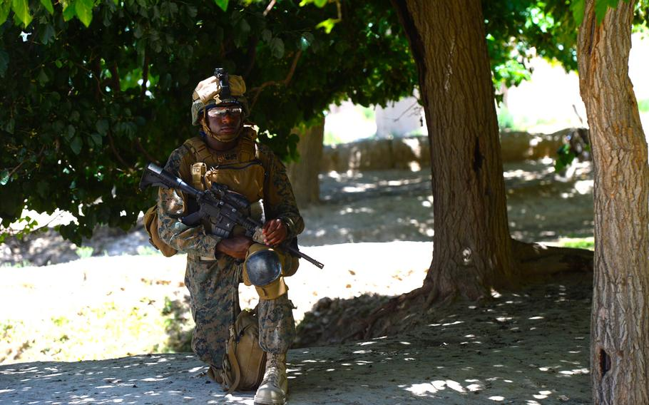 Navy Corpsman 1st Class Darrell Jones takes a knee while U.S. and Georgian troops question Afghan locals during a June 10, 2015, security patrol in Parwan province, central Afghanistan.