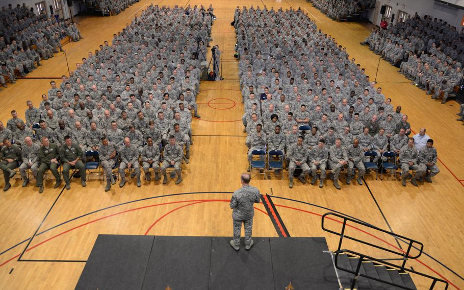 Chief Master Sgt. of the Air Force James Cody addresses personnel at Osan Air Base, Republic of Korea, on Thursday, July 2, 2015.