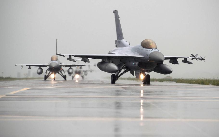 F-16 Fighting Falcons from Kunsan Air Base and South Korean KF-16s taxi to the runway together during an exercise at Seosan Air Base, South Korea, on Aug. 21, 2014. The U.S. State Department has approved a possible $2.5 billion sale in F-16 upgrades to South Korea as part of Seoul's effort to revamp its aging fighter jet fleet. Congress has 30 days to block the sale.