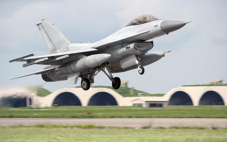 A South Korean KF-16 takes off  Seosan Air Base, South Korea during an exercise on Aug. 20, 2014. The U.S. State Department has approved a possible $2.5 billion sale in F-16 upgrades to South Korea as part of Seoul's effort to revamp its aging fighter jet fleet. Congress has 30 days to block the sale.