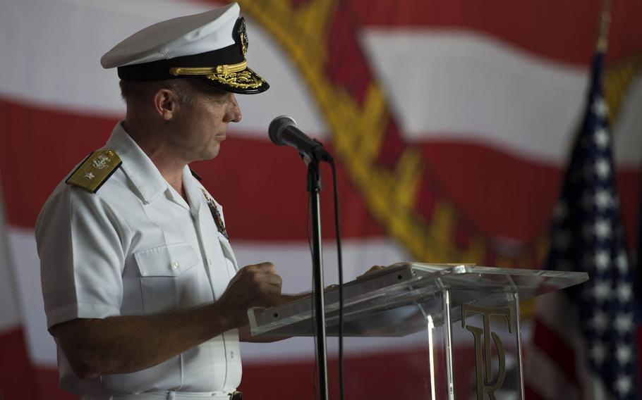 Rear Adm. Roy J. Kelley, incoming commander for the Roosevelt carrier strike group, at a change of command ceremony aboard the aircraft carrier USS Theodore Roosevelt Tuesday, July 21, 2015.  The Roosevelt and its carrier strike group both got new commanders during while the ship is in Bahrain during a short break from an eight-month deployment in the Middle East.