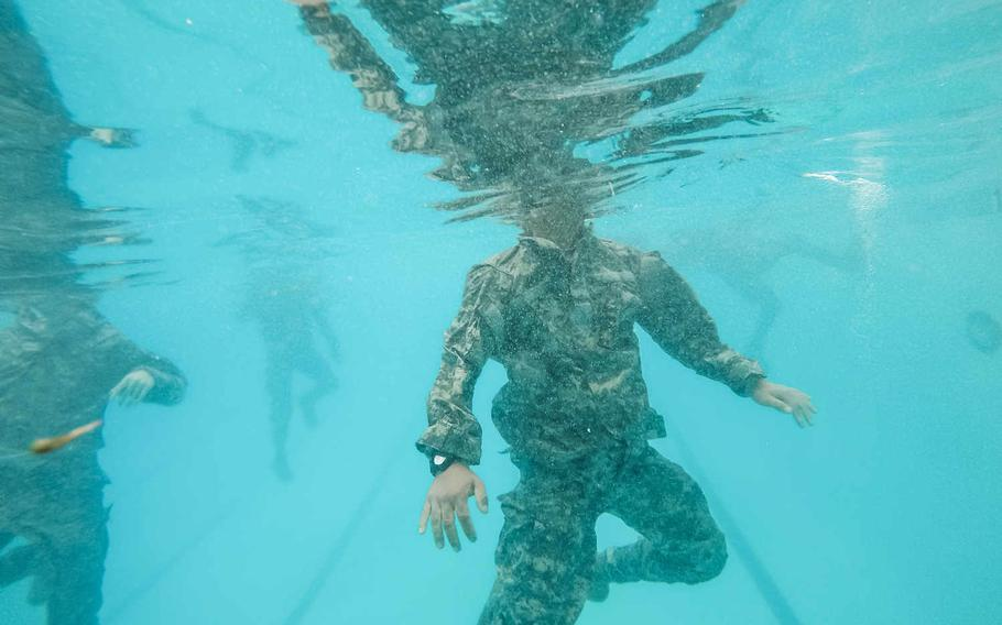 U.S. Army Reserve combat engineers from the 374th Engineer Company tread water during Combat Water Survival Training at Fort Hunter Liggett, Calif., July 17, 2015,part of a two-week field exercise known as a Sapper Leader Course Prerequisite Training.