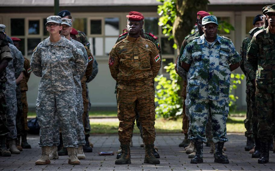 U.S., African and European servicemembers stand in formation during the opening ceremony for Western Accord 2015, a command post exercise, at Harskamp, Netherlands, July 20, 2015.