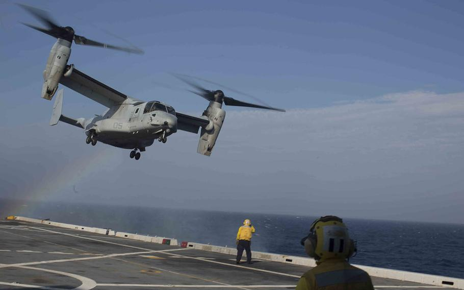 An MV-22B Osprey assigned to Marine Medium Tiltrotor Squadron 162, 26th Marine Expeditionary Unit, takes off from the flight deck of the USS Arlington  in the Atlantic Ocean, July 21, 2015.
