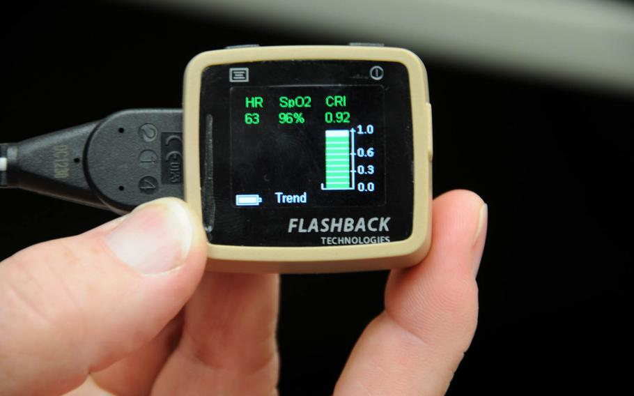 The Compensatory Reserve Index device measures a patient's artery waveform and estimates how long the body will be able to compensate for blood loss, as shown on this prototype readout screen.
