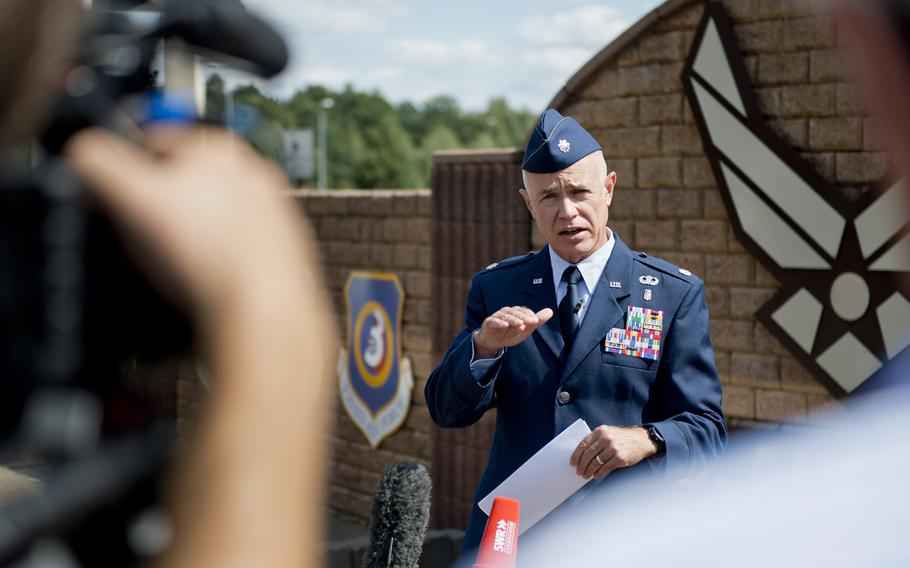 Lt. Col. Richard Smith,  Medical Support/Medical Operations Squadron commander, answers questions during a news conference outside Ramstein Air Base, Germany, Wednesday, Aug. 26, 2015. Smith gave updates about the recovery of Airman 1st Class Spencer Stone who was injured while subduing an armed assailant on a Paris-bound train Aug. 21, 2015. Smith is Stone's commanding officer at Lajes Field, Azores.