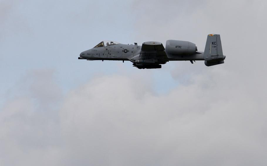 An Air Reserve A-10 Thunderbolt II flies over Amari Air Base, Estonia, earlier this month. The base is hosting  a new batch of A-10s from the States with the arrival Monday, Sept. 22, 2015, of 12 A-10s and about 300 airmen from Moody Air Force Base, Ga. The aircraft and personnel will spend about the next six months in Europe flying with NATO allies and European partners as part of a long-term deployment intended to deter Russian aggression and promote regional security.