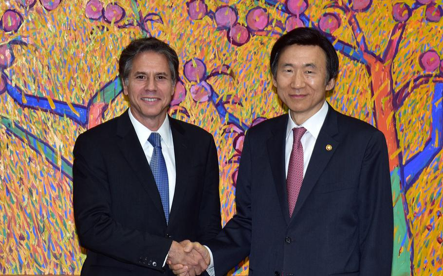 """Deputy Secretary of State Antony """"Tony"""" Blinken poses for a photo with South Korean Foreign Minister Yun Byung-se before their lmeeting  in Seoul, South Korea, on October 6, 2015."""