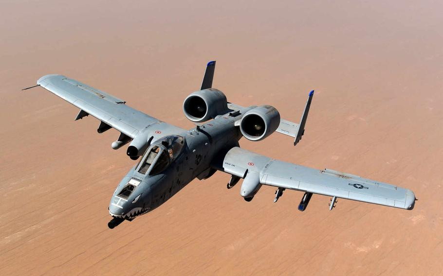An A-10 Thunderbolt II returns to mission after receiving fuel from a KC-135 Stratotanker, 340th Expeditionary Air Refueling Squadron, over the skies of Afghanistan, May 8, 2011. Twelve so-called Warthogs have been deployed to Incirlik Air Base, Turkey, to conduct strikes against Islamic State targets in Syria and Iraq.