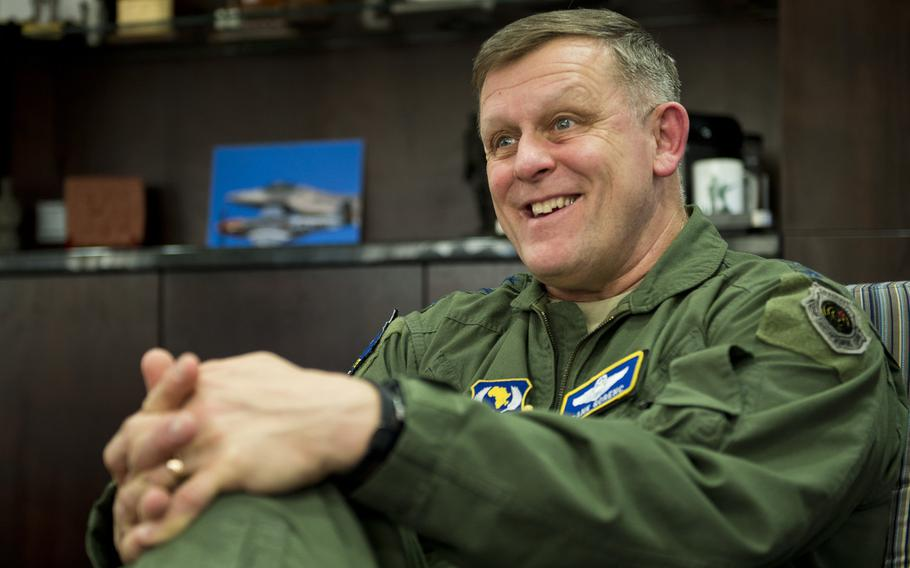 Gen. Frank Gorenc, commander of U.S. Air Forces in Europe-Air Forces Africa, answers questions during an interview at Ramstein Air Base, Germany, on Wednesday, Dec. 9, 2015. Gorenc discussed plans for continued use of rotational forces to augment permanent forces in Europe and Africa.