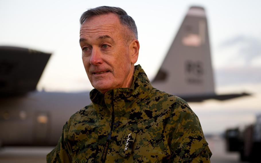 Gen. Joseph Dunford, chairman of the Joint Chiefs of Staff, answers questions during an interview at Ramstein Air Base, Germany, on Wednesday, Dec. 9, 2015. Dunford is traveling to several countries to speak with troops.