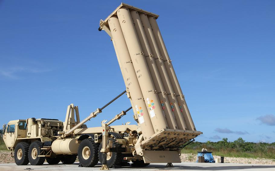 A Terminal High Altitude Area Defense (THAAD) interceptor battery stands at Site Armadillo in northwest Guam in October 2015. Task Force Talon is in the process of establishing a permanent home for the anti-ballistic missile unit.
