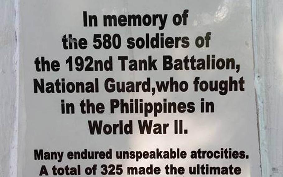 Tony Ahn took this photo Dec. 26, 2015, of an inscription along the route of the infamous Bataan Death March, in which the Imperial Japanese Army transferred between 60,000 and 80,000 American and Philippine prisoners from Mariveles, Bataan, to Camp O'Donnell in Capas, Tarlac.