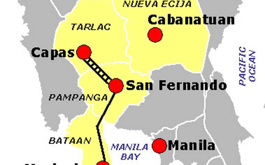During the Bataan Death March of World War II, the Imperial Japanese Army transferred between 60,000 and 80,000 American and Filipino prisoners from Mariveles, Bataan, to Camp O'Donnell in Capas, Tarlac in the Philippines. Most of the journey was on foot, though the section between San Fernando and Capas was via rail.