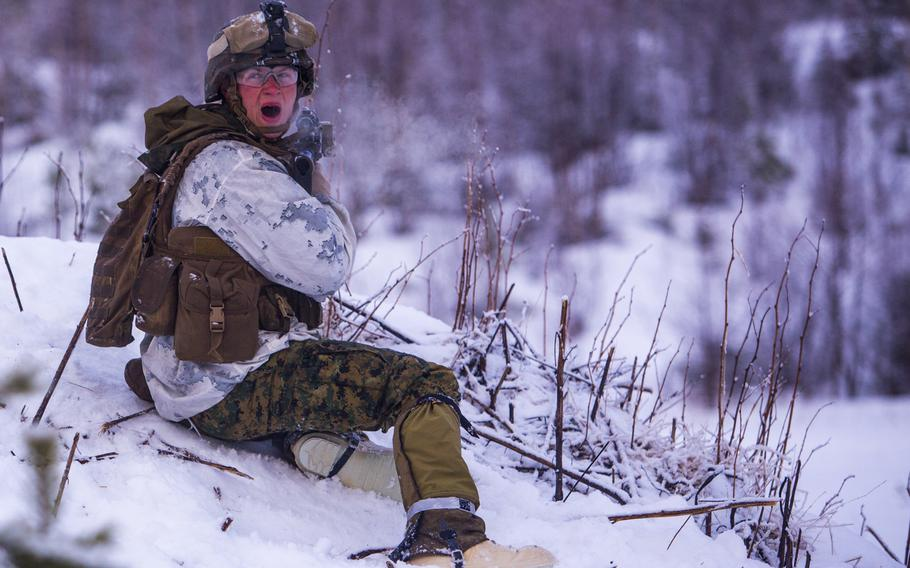U.S. Marine Corps Cpl. Benjamin Peagler, Company I, 3rd Battalion, 2nd Marine Regiment, 2nd Marine Division, conducts a platoon assault drill as a part of Exercise Cold Response 16 in Norway on Feb. 23, 2016. The exercise will involve approximately 16,000 troops from 12 NATO and partner countries.