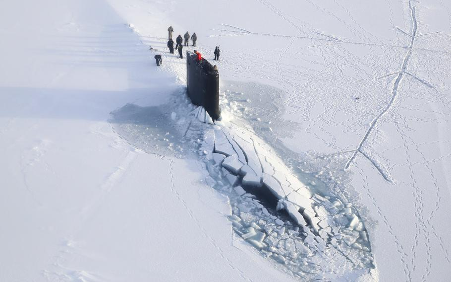 The Los Angeles-class submarine USS Hampton surfaces at U.S. Navy Ice Camp Nautilus, located on a sheet of ice adrift on the Arctic Ocean, as part of Ice Exercise (ICEX) 2014. ICEX is a U.S. Navy exercise highlighting submarine capabilities in an arctic environment. The 2016 exercise began March 2.