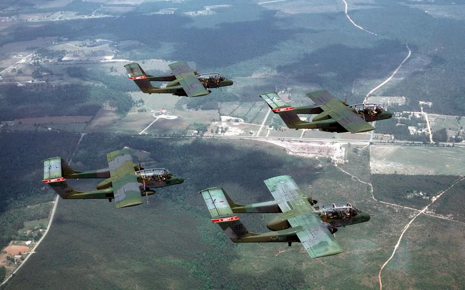 Four OV-10A Bronco aircraft from the 20th Tactical Air Support Squadron fly in a diamond formation. Two of the Vietnam-era light attackers were deployed to the Middle East last year in as part of an evaluation of their ability to perform counter-insurgency missions.