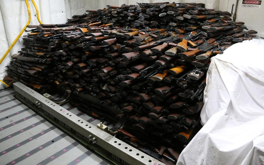 About 1,500 AK-47 assault rifles were among a cache of weapons intercepted by the coastal patrol ship USS Sirocco on March 28, 2016. The weapons, assembled on the deck of the guided-missile destroyer USS Gravely, were seized from a stateless dhow.