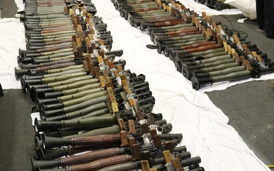Among weapons seized from a stateless dhow in the Arabian Sea on March 28, 2016, were about 200 rocket-propelled grenade launchers. The weapons, which also included an array of machine guns, were seized by the Coastal Patrol ship USS Sirocco assisted by the guided-missile destroyer USS Gravely, where the weapons were assembled.