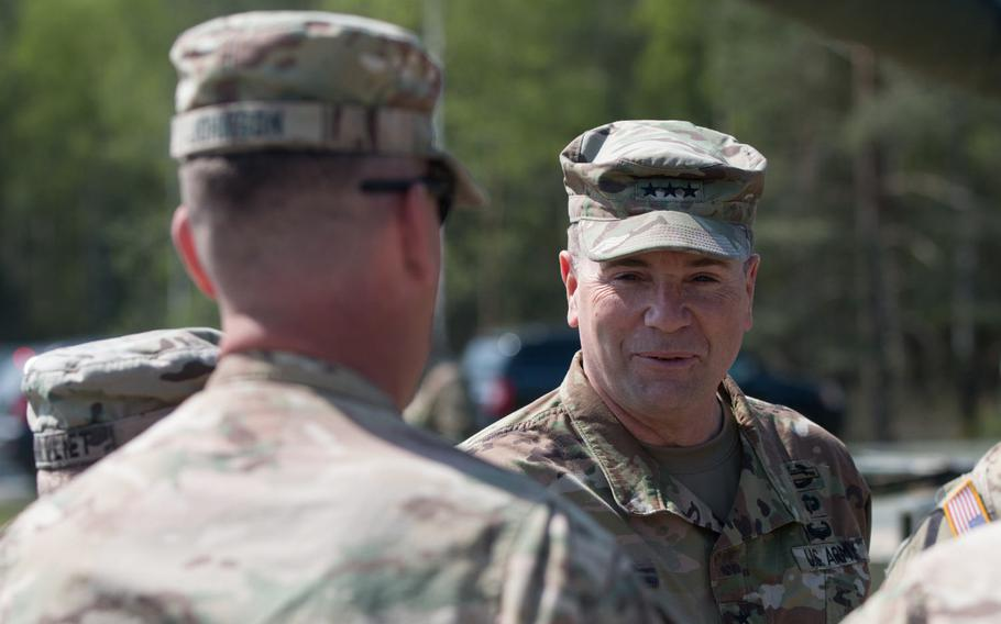Lt. Gen. Ben Hodges, commander of U.S. Army Europe, speaks to American tankers on Wednesday, May 11, 2016, before they began a firing drill as part of the 2016 Strong Europe Tank Challenge held at the Grafenwoehr, Germany training area.