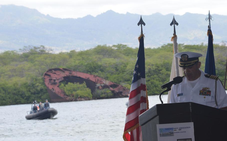 Capt. Mark S. Manfredi, Navy Region Hawaii, speaks during a memorial aboard the LTG William B. Bunker at the West Loch Annex at Pearl Harbor, May 20, 2016.