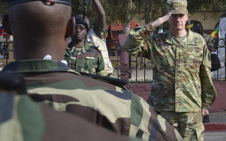 U.S. Army Gen. David Rodriguez, commander of U.S. Africa Command, salutes a formation of Senegalese soldiers during the closing ceremony for Flintlock 2016 in St. Louis, Senegal on Feb. 29, 2016. Flintlock, sponsored by AFRICOM, is an annual exercise designed to increase interoperability among multinational special operations forces.