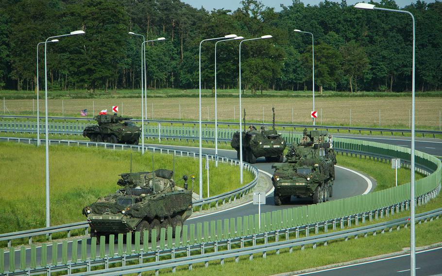 Task Force Saber, under the command of the U.S. Army?s 4th Squadron, 2nd Cavalry Regiment, travel through Poland on Friday, June 3, 2016, as part of a more than 1,400-mile convoy operation Dragoon Ride II. This exercise will run through the Polish-led, multinational training event Anakonda 16, which kicked off Monday, June 6, 2016, with a ceremony in Warsaw, Poland.   Jennifer Bunn/U.S. Army