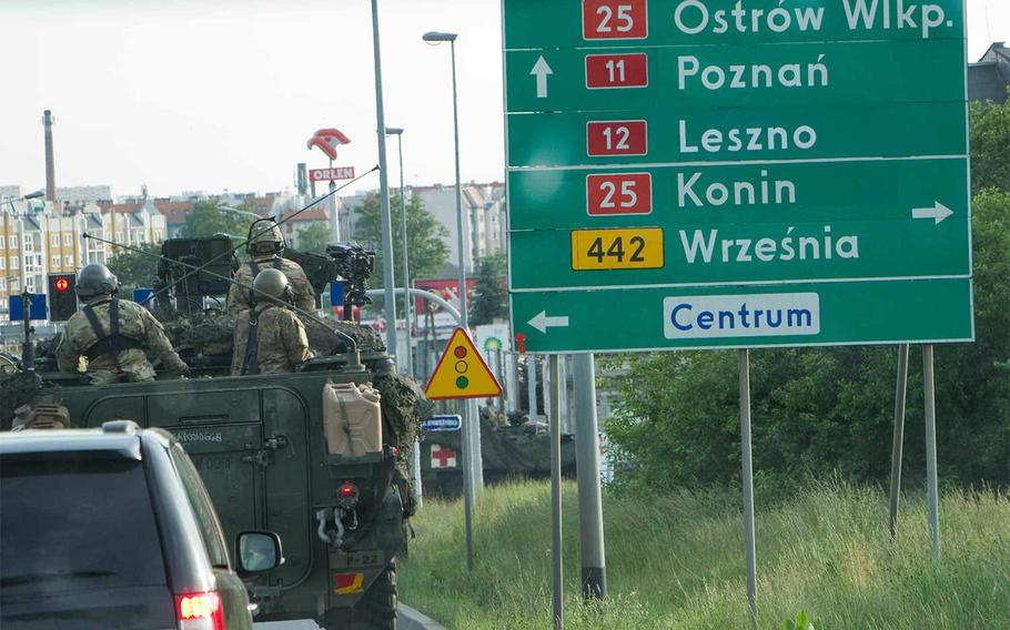 The U.S. Army?s 4th Squadron, 2nd Cavalry Regiment, winds through Poland on its way from Vilseck, Germany, to Tapa, Estonia as part of Dragoon Ride II road march. This convoy will run through the Polish-led, multinational training event Anakonda 16, which kicked off Monday, June 6, 2016, with a ceremony in Warsaw, Poland.   Jennifer Bunn/U.S. Army