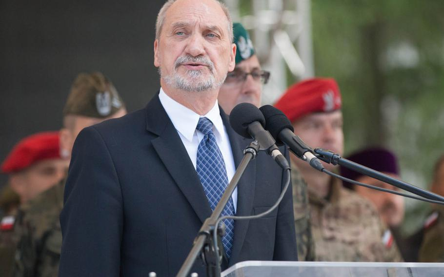Polish Defense Minister Antoni Macierewicz gives his opening remarks at the opening ceremony of Anakonda 16, held at the National Defense University of Warsaw on Monday, June 6, 2016.