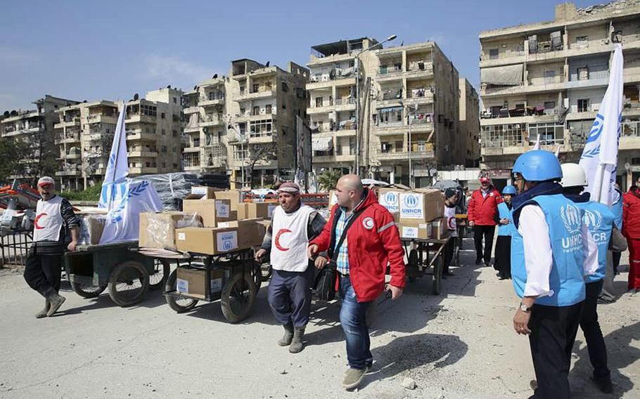 UNHCR staff and Syrian Arab Red Crescent (SARC) aid workers bring humanitarian aid to Syria's internally displaced persons. Although international media attention has focused mainly on Syrian refugees arriving in Europe, a much greater number of people remain displaced within their own country.