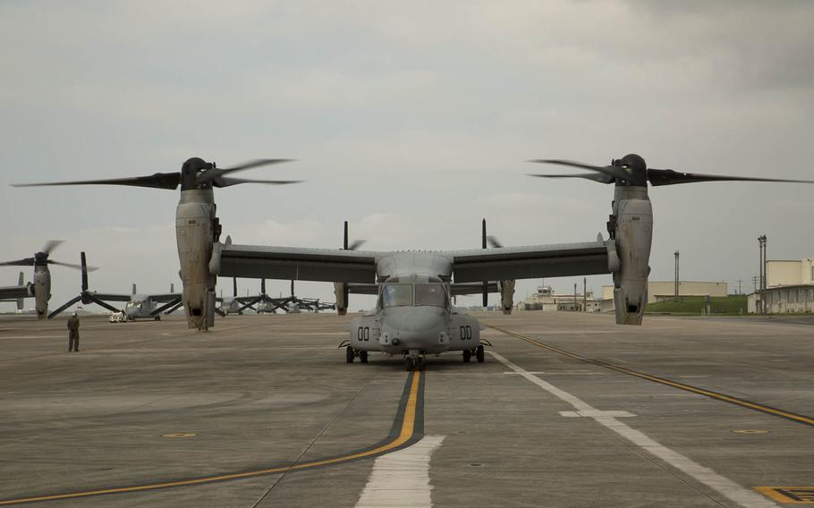 MV-22 Ospreys with Marine Medium Tiltrotor Squadron 265, 31st Marine Expeditionary Unit await the green light for takeoff April 17, 2016, at Marine Corps Air Station Futenma in Okinawa, Japan. Four out of five Okinawans oppose a plan to realign U.S. forces on the island prefecture and more than half want the Marine Corps to leave, according to a recent poll.