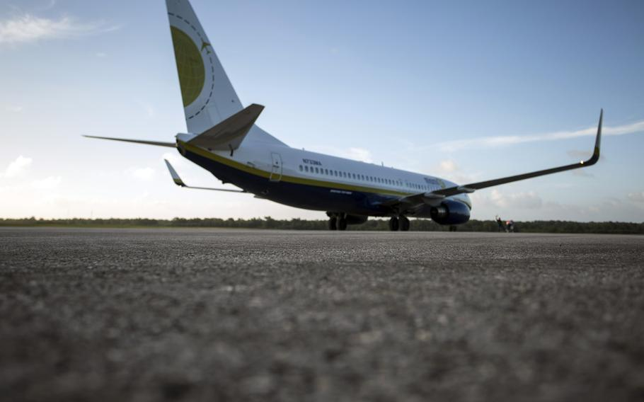 A Boeing 737 carrying about 100 U.S. Marines lands Nov. 6, 2013, at Tinian's international airport.