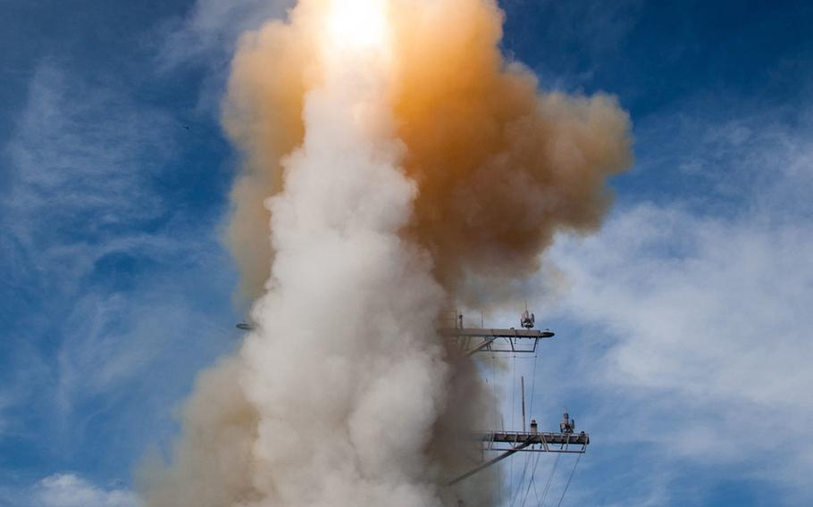 A Standard Missile-2 (SM-2) Block IIIA guided missile is launched from the USS John Paul Jones (DDG-53) during a Missile Defense Agency and U.S. Navy test over the Pacific Ocean by the Aegis Weapon System configured ship in November 2014. The U.S., Japan and South Korea are now conducting their first-ever trilateral missile defense exercise in Hawaii.  Leah Garton U.S. Missile Defense Agency
