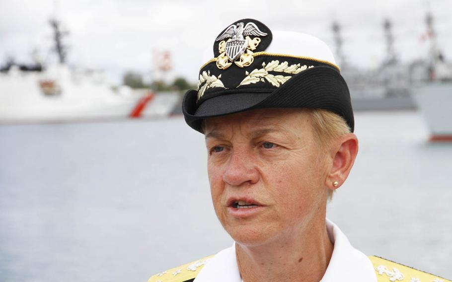 Navy Vice Adm. Nora Tyson, commander of the U.S. Third Fleet, is leading the combined task force for Rim of the Pacific exercises this year. She told reporters Tuesday, July 5, 2016, that she welcomed greater participation by China in the biennial drills underway in Hawaii and Southern California.