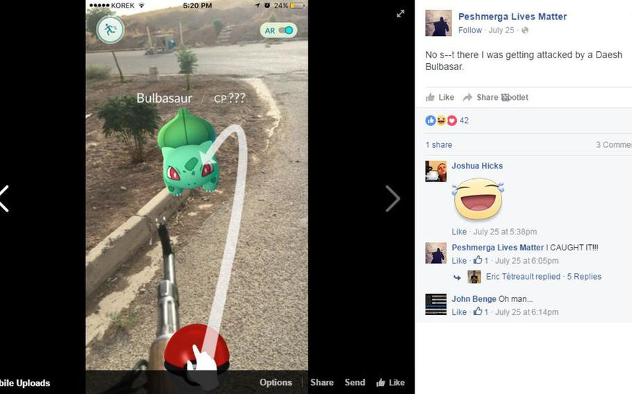 A screen shot shows a Facebook post by John Cole showing him battling a monster in ''Pokemon Go'' in an undisclosed location near Mosul, Iraq.  The U.S. Army veteran is fighting with the peshmerga against the Islamic State group, also known as Daesh.