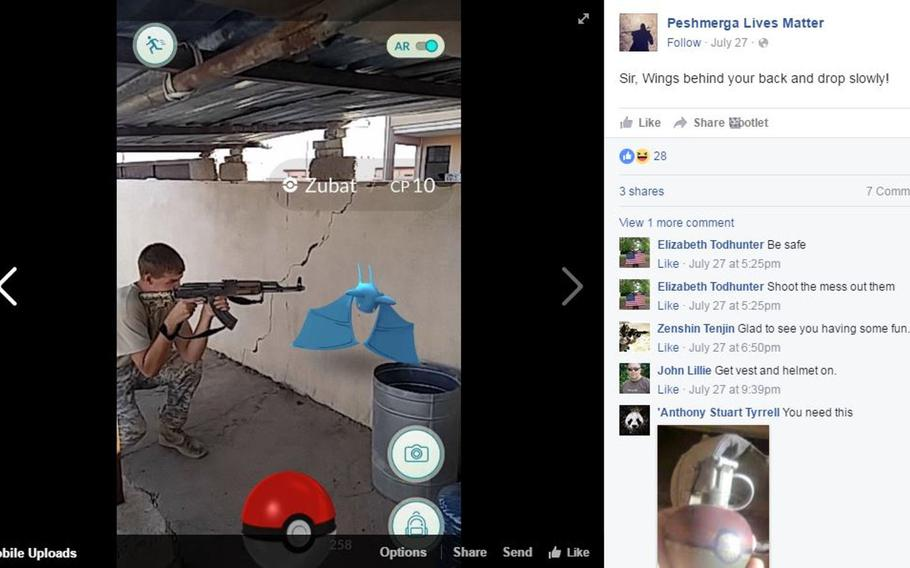 A fighter aims an AK-47 at a Zubat Pokemon in this screen shot of a Facebook post by John Cole, a U.S. Army veteran fighting with the peshmerga against the Islamic State group. He is using the smartphone game app ''Pokemon Go'' in an undisclosed location on the front lines near Mosul, Iraq.