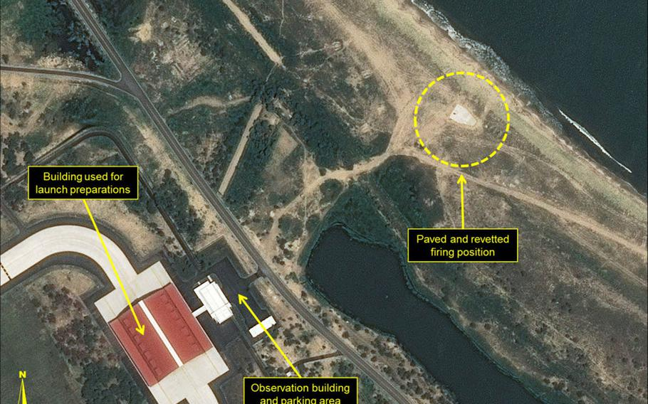 New missile-firing positions were built at this airport on North Korea's east coast, a U.S. think tank says.