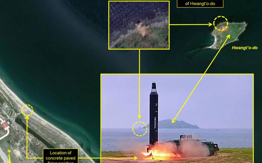 This satellite image, with an inlay of a photo from the Korean Central News Agency, shows the firing position of North Korea's June 22 missile test from an airport on its eastern coast.