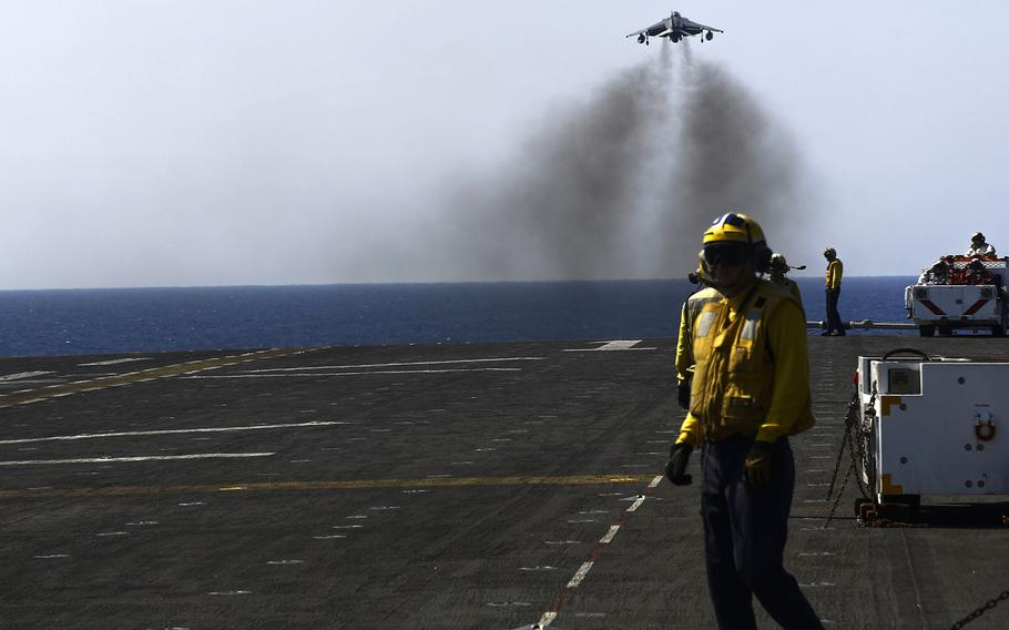 An AV-8B Harrier II with 22nd Marine Expeditionary Unit takes off from the amphibious assault ship USS Wasp in the Mediterranean Sea, Monday, Aug. 1, 2016. The unit conducted precision airstrikes against Islamic State targets in Sirte, Libya, as part of Operation Odyssey Lightning.