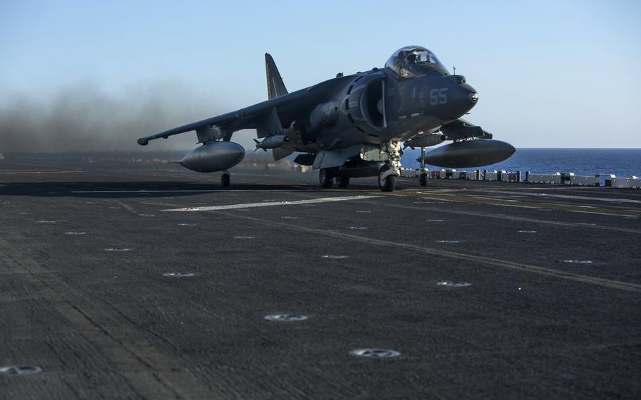 An AV-8B Harrier II with 22nd Marine Expeditionary Unit, launches from the flight deck of the amphibious assault ship USS Wasp in the Mediterranean Sea, Monday, Aug. 1, 2016. The 22nd MEU conducted precision airstrikes against Islamic State targets in Sirte, Libya, as part of Operation Odyssey Lightning. That mission has become a showcase for U.S. Africa Command's new capabilities.