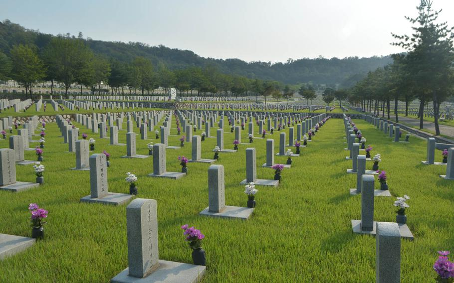 About 29,000 South Korean servicemembers have been buried in a section of the National Cemetery in Seoul. The military is searching for more than 130,000 still missing from the Korean War in a project that is similar to the U.S. POW/MIA recovery efforts. More than 7,800 Americans also remain unaccounted for on the divided peninsula.