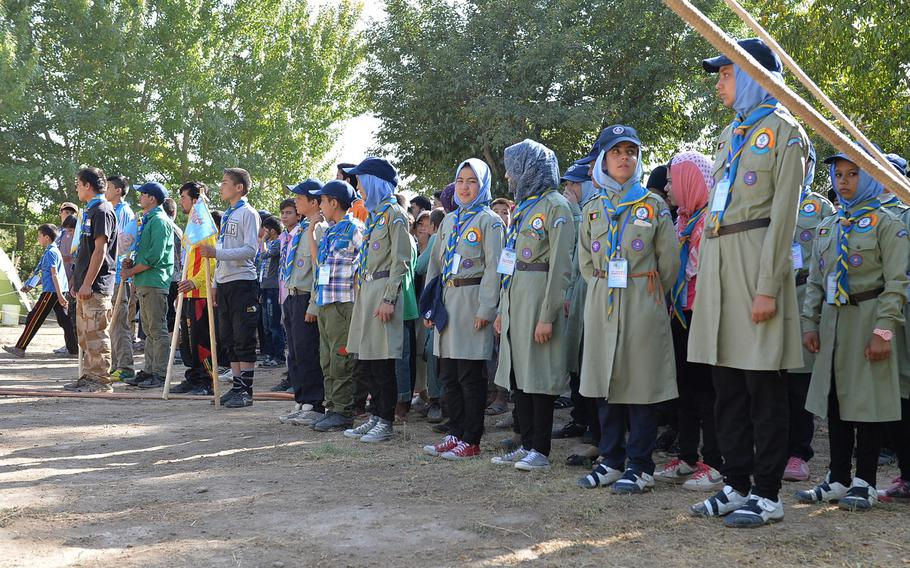 Boys and girls in Afghanistan's growing scouts program stand in formation on Sept. 8, 2016, waiting to begin a series of outdoor obstacle course activities as part of a camporee event, the first since the Soviet invasion in 1979.