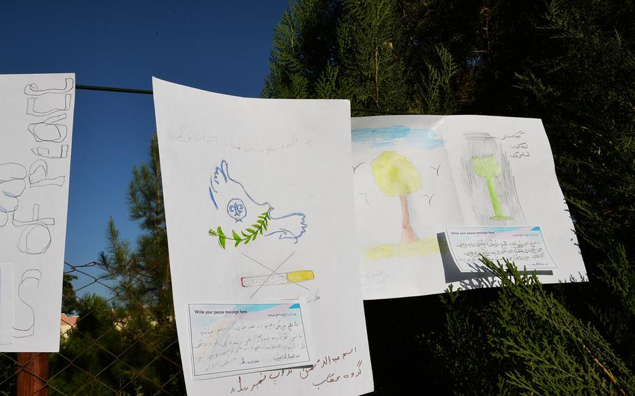 As part of the Kabul camporee in early September, scouts drew pictures and wrote messages of peace, pictured here on Sept. 8, 2016. One of the pictures calls for peace and opposes cigarette smoking; another opposes poppy growing.
