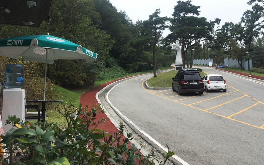 This roadway leads to the entrance to Lotte Skyhill Country Club in Seongju, South Korea. The country club will be used to station an advanced U.S. missile defense system known as THAAD.